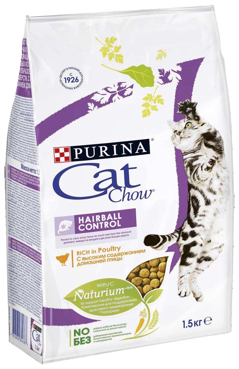 Cat Chow Hairball Control для выведения комков шерсти, индейка, уп.1,5 кг
