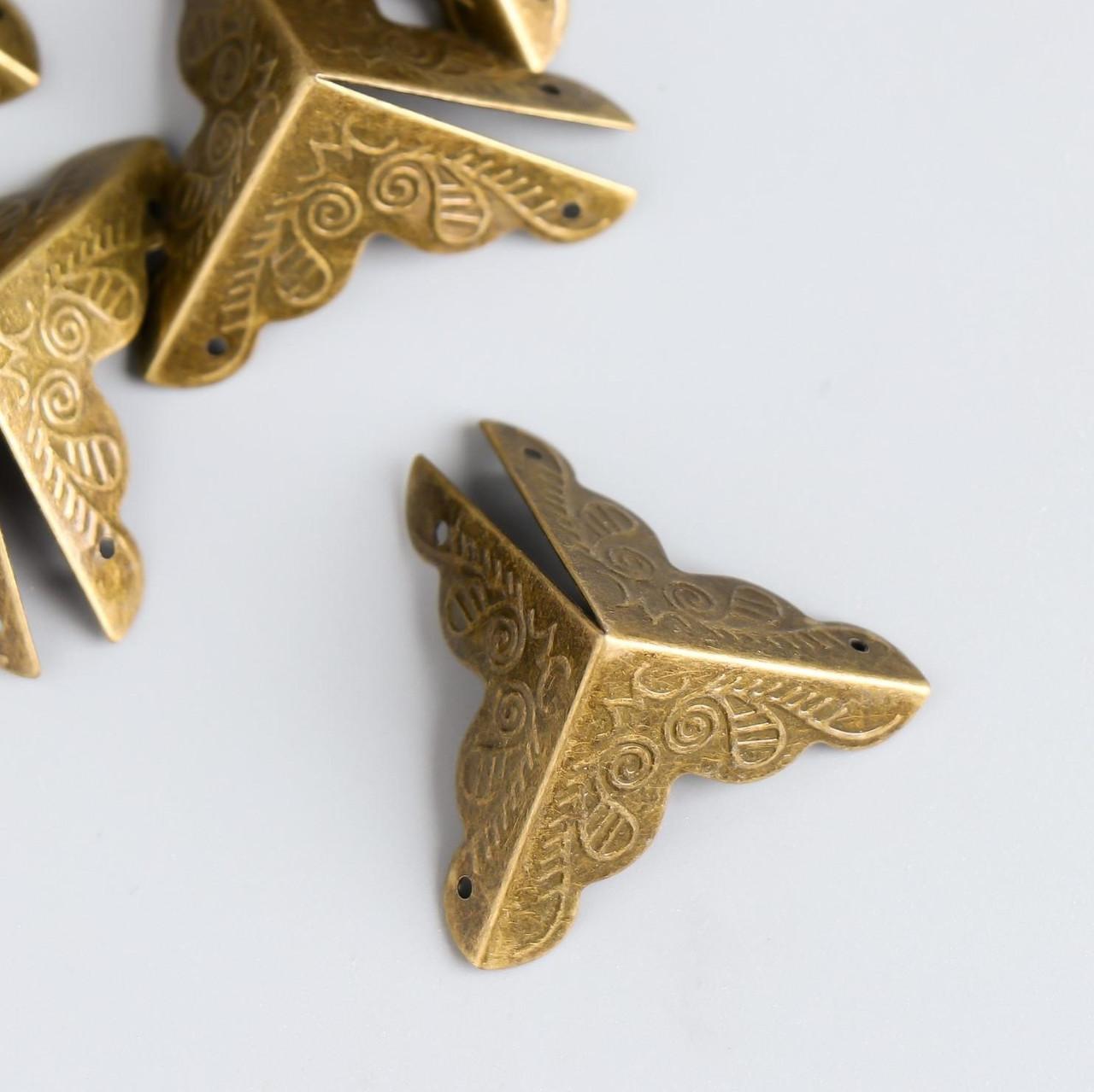 """Уголок для шкатулок металл """"Узоры"""" бронза 2,5х2,5х2,5 см (10 штук)"""