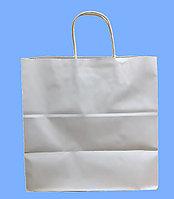 Бумажные пакеты белые, с ручкой