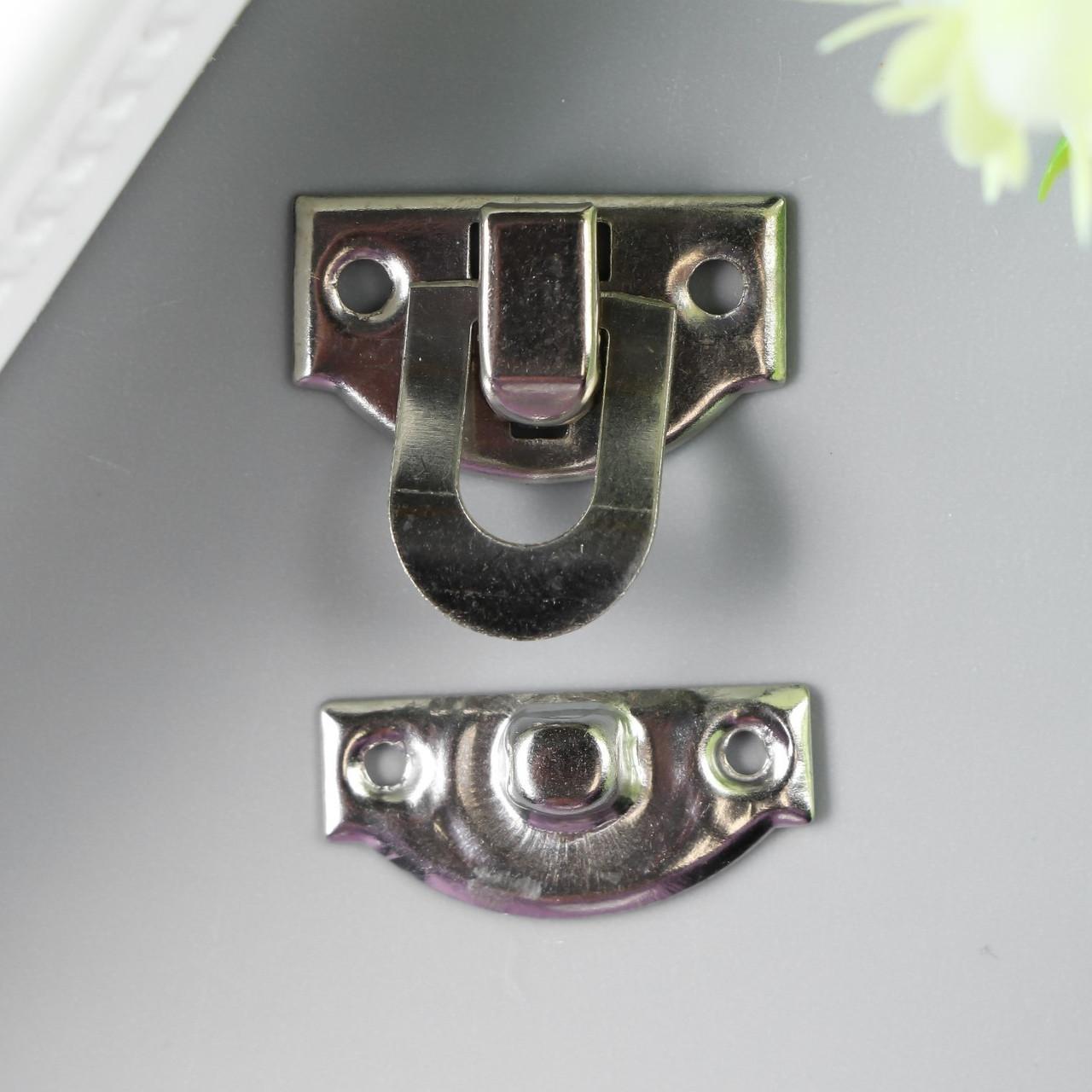"Замок металл для шкатулки ""Стандарт"" серебро 1,9х2,2 см (10 штук)"