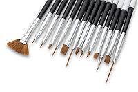 Набор кисточек для рисунка на ногтях, черными ручками (в упаковке 3 кисточки)