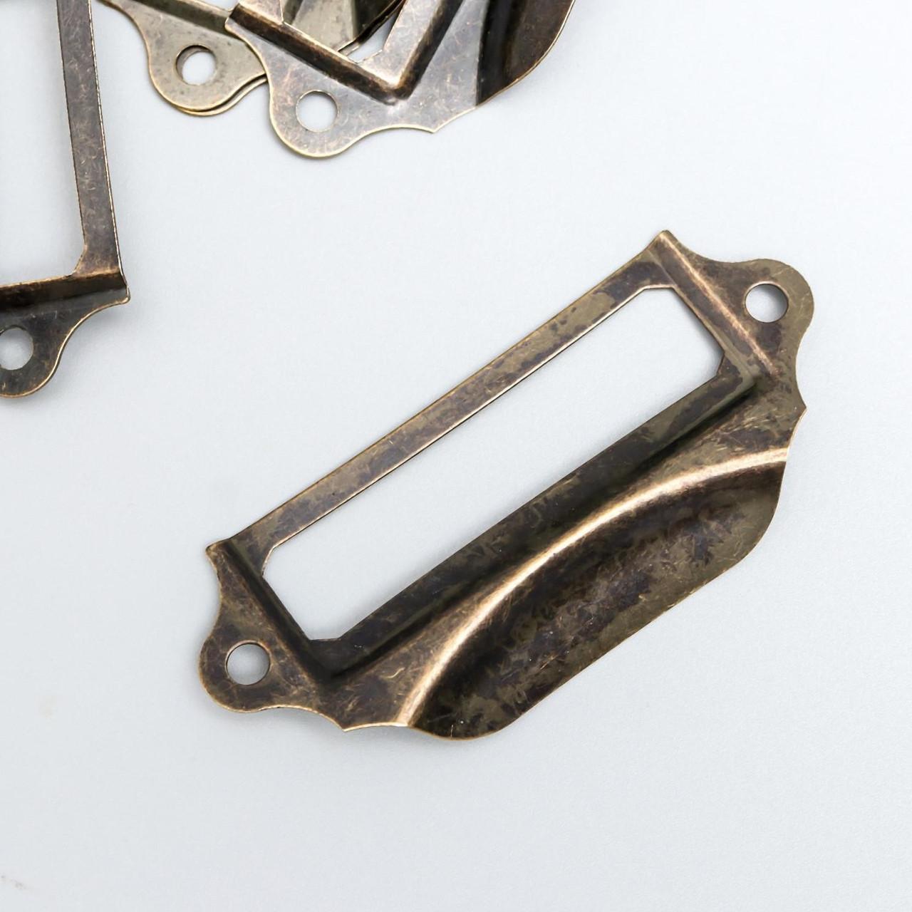 Ручка с архивной рамкой металл бронза 3х7 см (10 штук)
