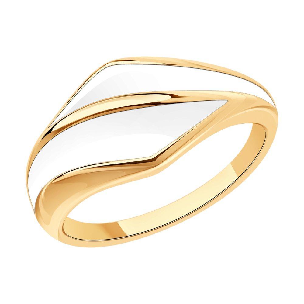Кольцо из позолоченного серебра с эмалью