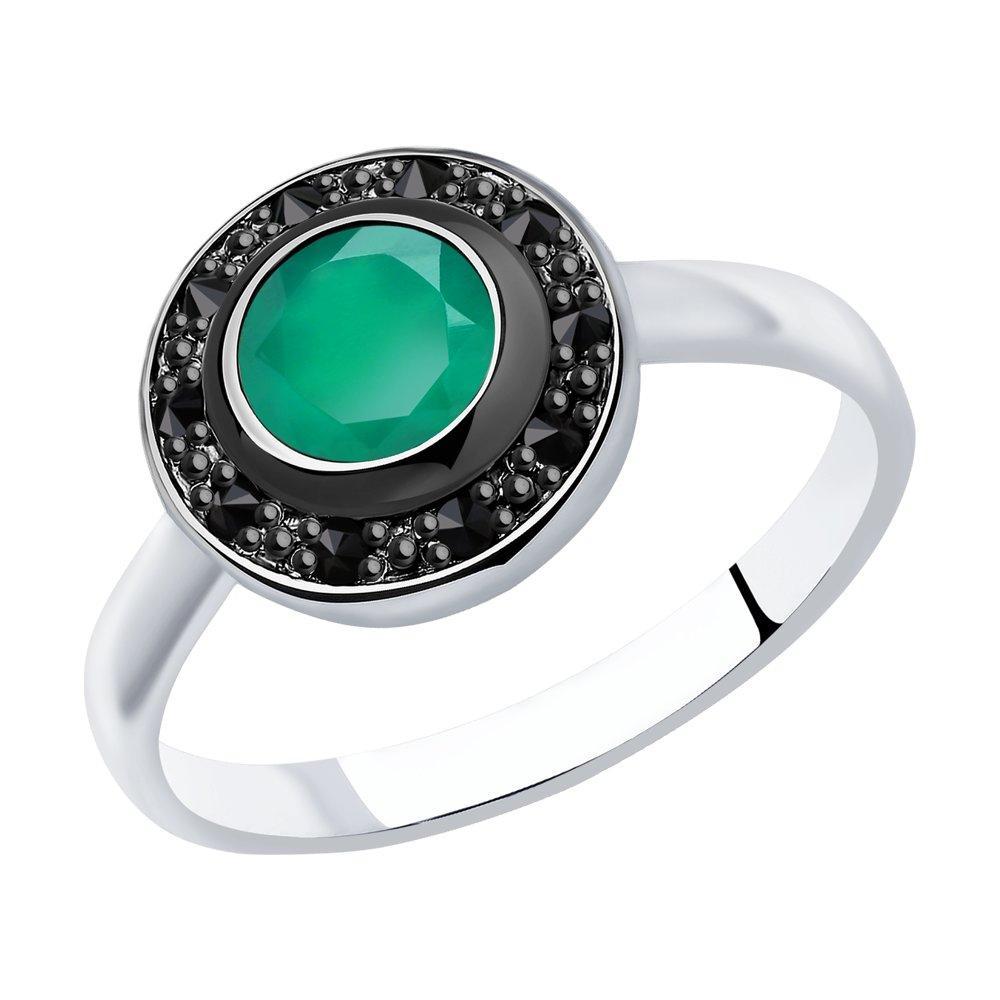 Кольцо из серебра с натуральным агатом и фианитом