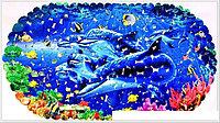 """Коврик 67*36 на присосках фотопринт """"Дельфины"""""""