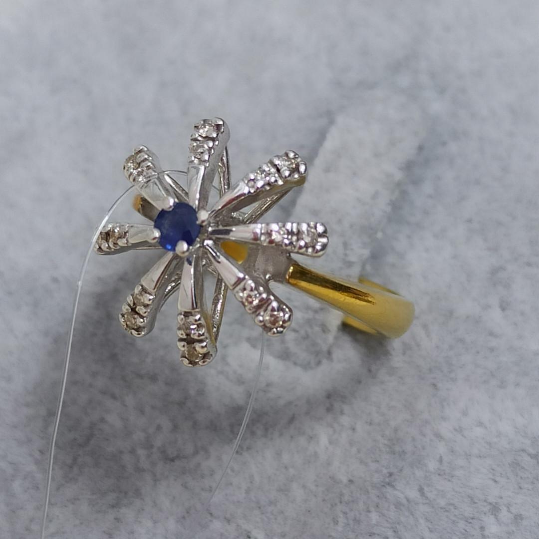 Золотой комплект с сапфиром и бриллиантами - фото 5
