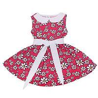 Платье для девочки Летний блюз, рост 104 см, цвет цвет белый/малиновый, принт ромашки