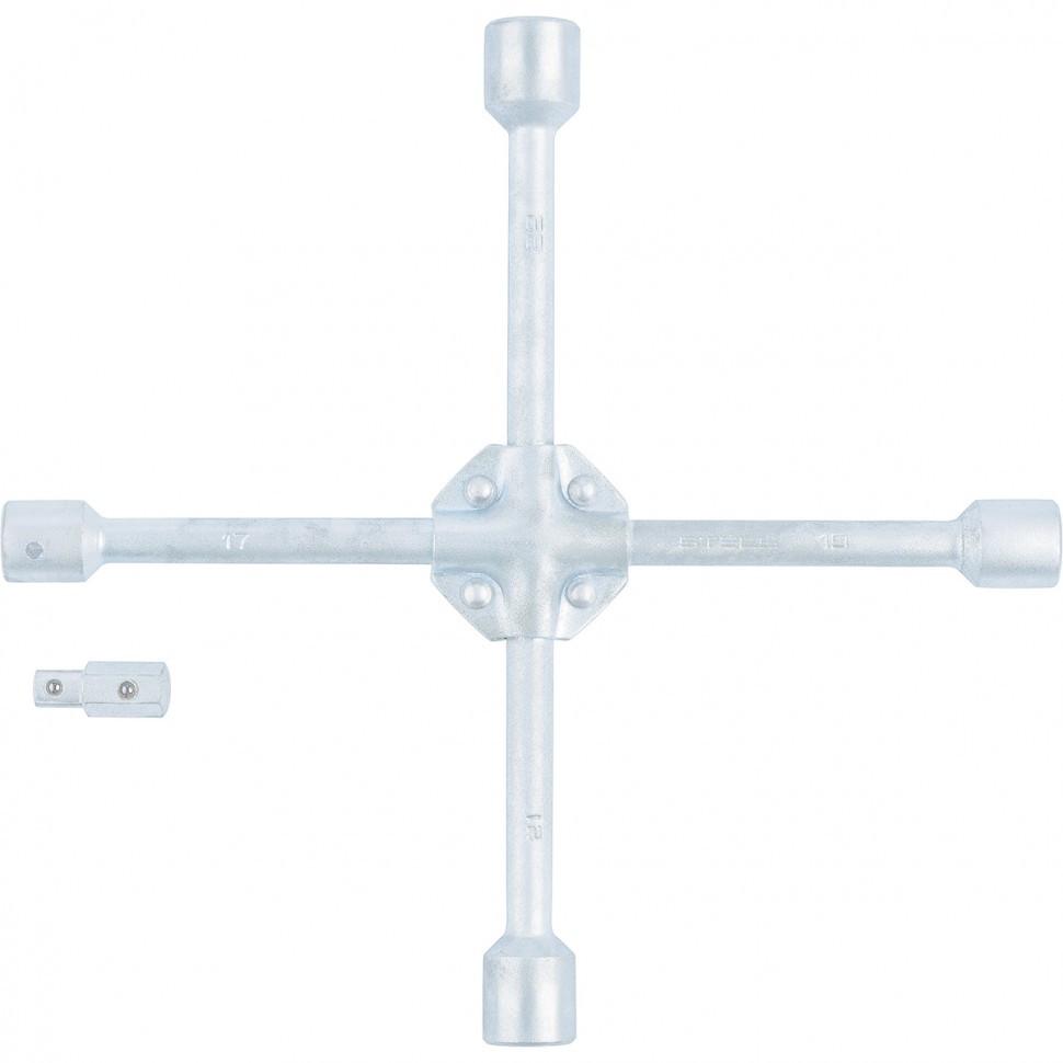 Ключ-крест баллонный, 17 х 19 х 21 х 22 мм, под квадрат 1/2, усиленный, с переходником на 1/2 Stels - фото 1