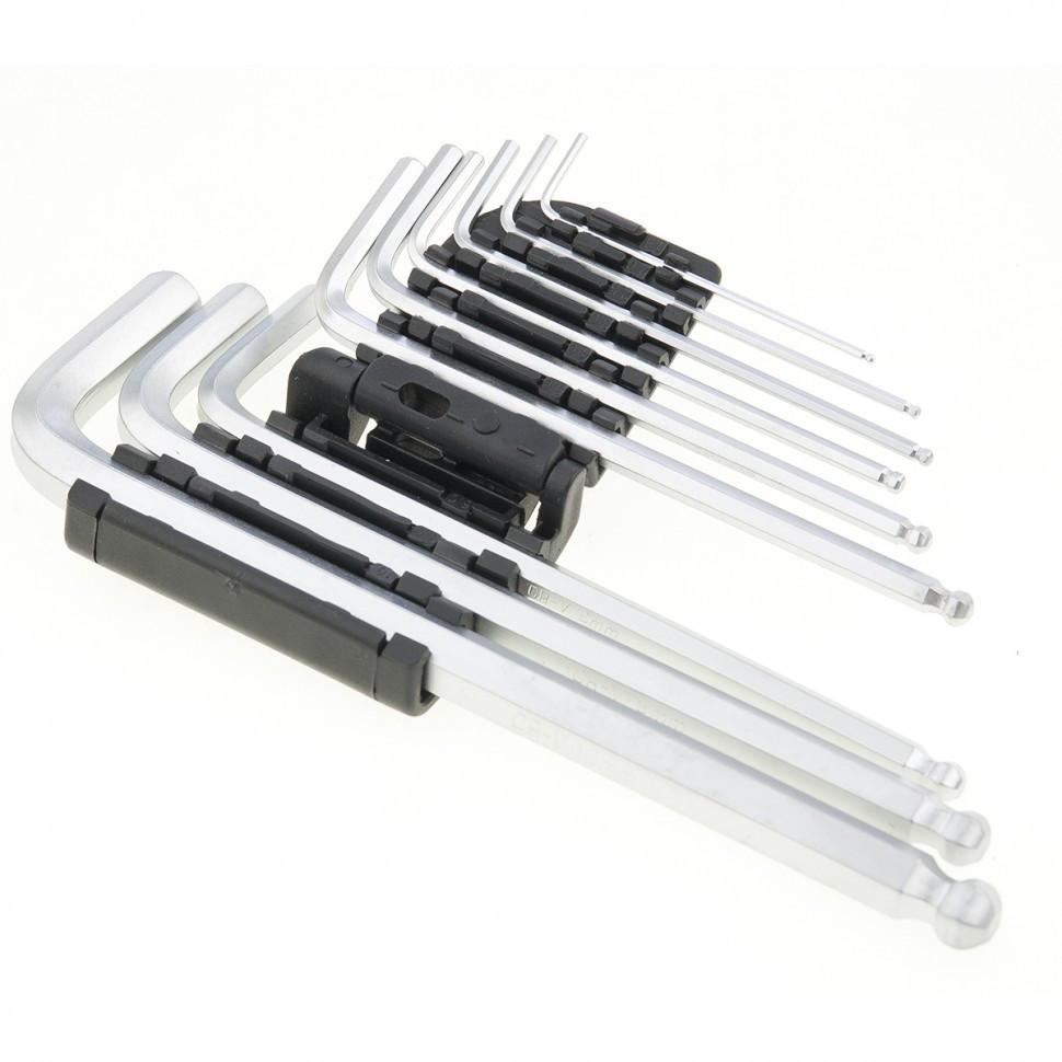 Набор ключей имбусовых HEX, 1,5-10 мм, CrV, 9 шт, удлиненные, сатин, с шаром Matrix - фото 2