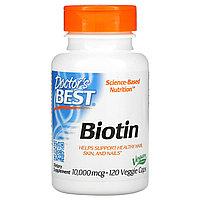 Doctor's Best, биотин, 10 000 мкг, 120 вегетарианских капсул