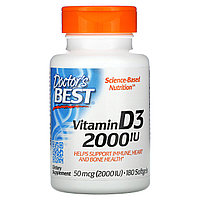 Doctor's Best, Витамин D3, 2000 МЕ, 180 мягких таблеток