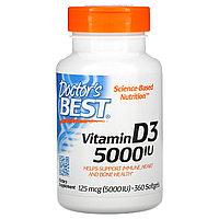 Doctor's Best, Витамин D3, 125 мг (5000 МЕ), 360 мягких таблеток