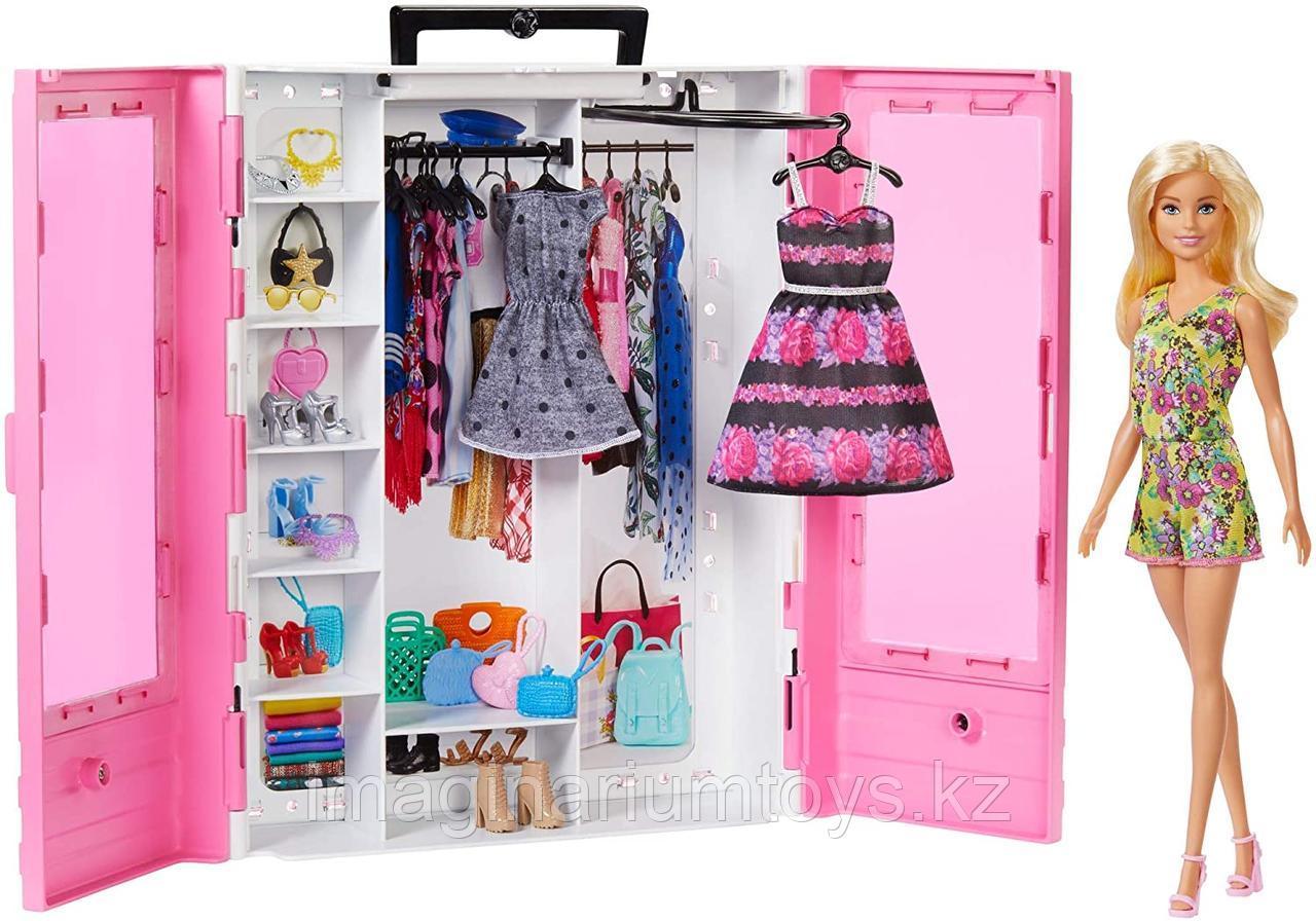 Барби шкаф-гардероб с куклой Barbie, одеждой и аксессуарами