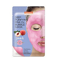 PUREDERM  O2 Bubble Mask Peach  Кислородная тканевая маска для тусклой, уставшей кожи