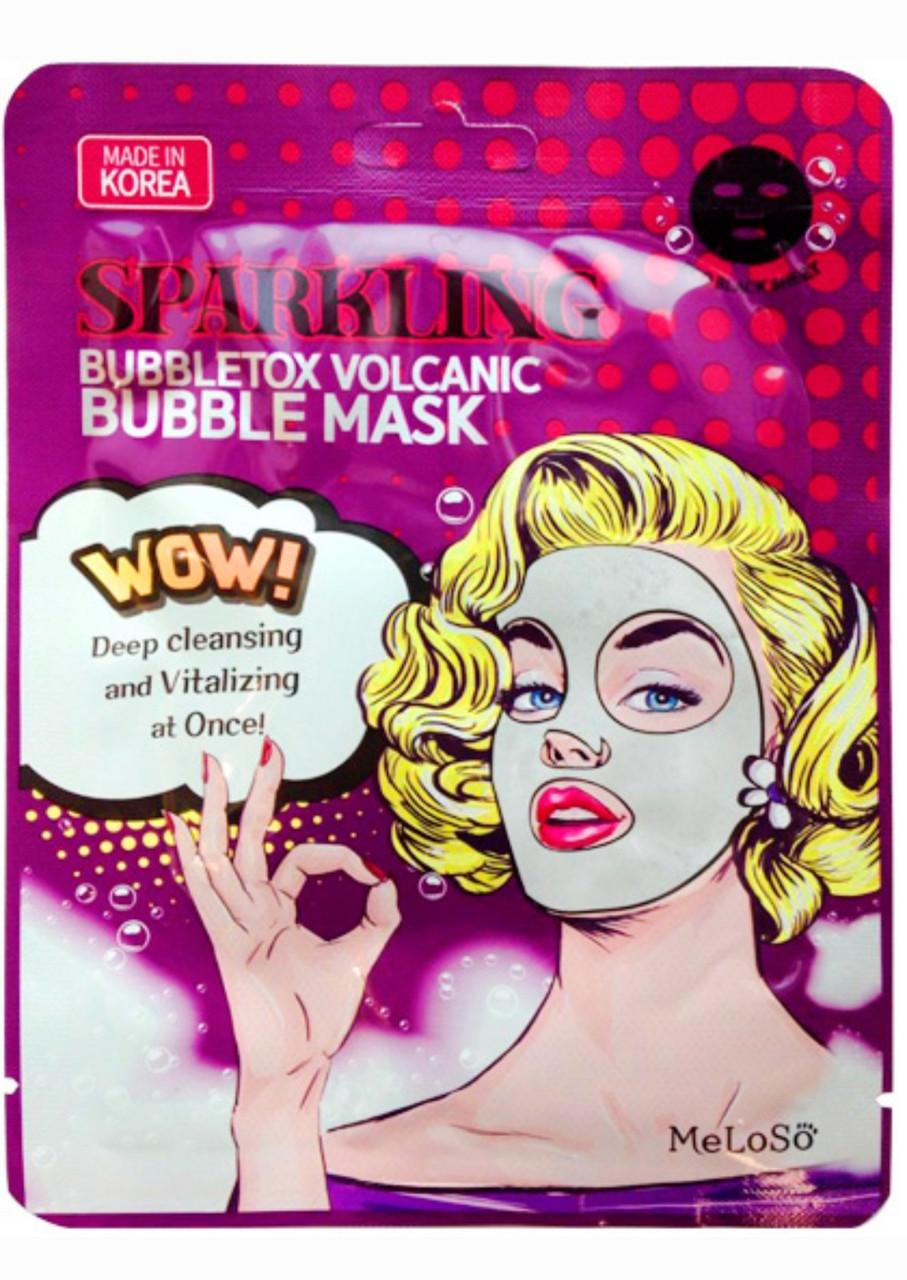 Кислородная тканевая маска с вулканическим пеплом Sparkling Bubbletox Volcanic Bubble Mask Meloso