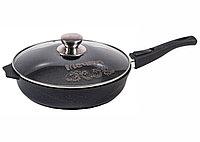 Cковорода Мечта Granit Black 30 см со съемной ручкой и стеклянной крышкой, фото 1