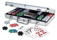 Набор в алюминиевом кейсе для игры в покер Poker Game Set Casino Size Chip (300 фишек без номинала)