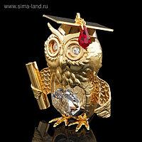 Сувенир «Сова», 4,5×3,5×5,5 см, с кристаллами Сваровски