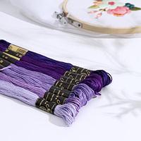 Набор ниток мулине «Цветик-Семицветик», 10 ± 1 м, 7 шт, цвет фиолетовый спектр