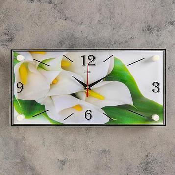 "Часы настенные, серия: Цветы, ""Белые каллы"", 19х39 см"