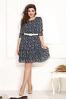 Женское летнее шифоновое синее большого размера платье Solomeya Lux 791 синий 48р.