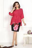 Женский осенний шифоновый нарядный большого размера комплект с платьем Solomeya Lux 788 48р.