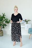 Женское летнее шифоновое черное большого размера платье ASV 2379 черно-коричневый 50р.