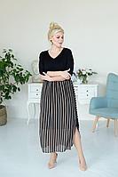 Женское летнее шифоновое черное большого размера платье ASV 2379 черно-рыжий 50р.