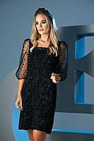 Женское осеннее черное нарядное платье Barbara Geratti by Elma 2773 черный/серый 42р.
