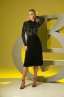 Женское осеннее трикотажное черное нарядное платье Barbara Geratti by Elma 2785 черный/золото 42р.