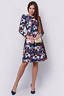 Женское осеннее трикотажное платье PATRICIA by La Cafe F14832 синий,белый,оранжевый 42р.
