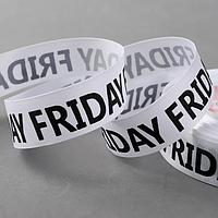 Лента репсовая «Friday», 25 мм × 23 ± 1 м, цвет чёрный/белый