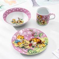 Набор детской посуды Доляна 'Дружба', 3 предмета кружка 220 мл, миска 400 мл, тарелка 18 см