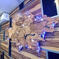 Карта Казахстана с точечной диодной подсветкой