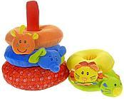 Развивающая игрушка I-BABY Развивающая пирамидка Друзья из джунглей 23 см