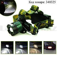Налобный фонарь HEADLAMP 4LED с рассеивающей линзой 4 режима на аккумуляторе и батарейках К-12