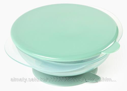 Тарелка Happy Baby детская на присоске с крышкой Eat&Carry( Olive)