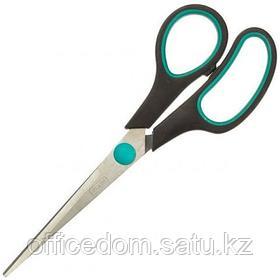 Ножницы из нерж. стали Attache 169 мм, пластиковые прорезиненные ручки, черный/зеленый