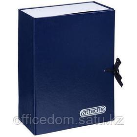 Папка архивная с завязками Attache, 100 мм, картон/бумвинил, синий