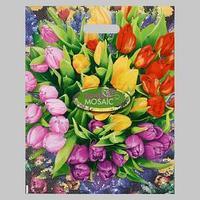 Пакет 'Цветочная мозаика', полиэтиленовый с вырубной ручкой, 38х47 см, 60 мкм (комплект из 25 шт.)