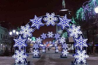 Каркасные светодиодные конструкции снежинки, звезды