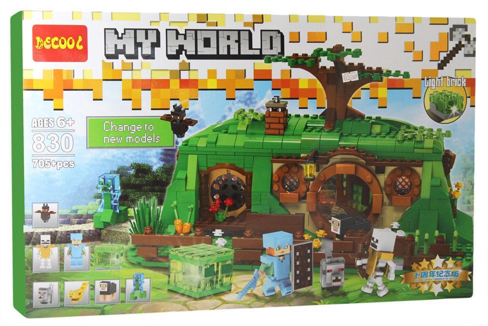 Jisi Bricks 830 Конструктор My World Лесной домик хоббита Стива, 705 дет. (Аналог LEGO)