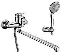 Смеситель Lemark Omega LM3101C для ванны и душа универсальный с длинным плоским изливом, фото 1