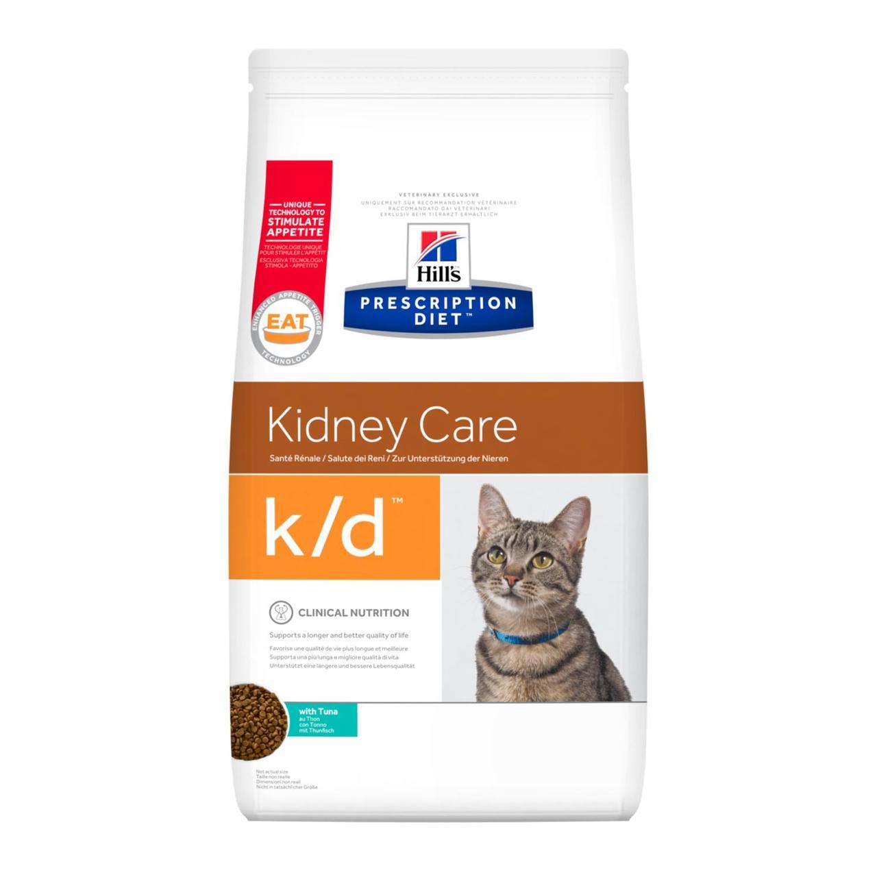 Hill's Prescription Diet k/d Kidney Care при почечной недостаточности, тунец, уп.1,5 кг