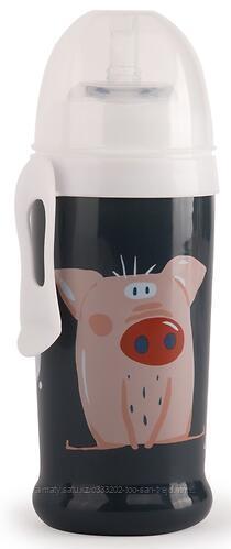 Поильник Happy Baby для кормления с трубочкой и прищепкой 360мл (Smoky )
