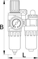 "Фильтр-регулятор и лубрикатор пневматический, 3/4"" - 1503 UNIOR, фото 2"