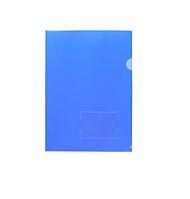 """Папка-уголок пластиковая """"Hatber"""", А4, 180мкм, с карманом для визитки, синяя"""