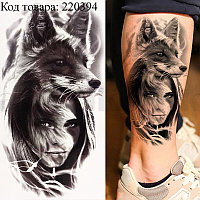 Временное тату Tattoo девушка с лисой 210х150 mm TH-358