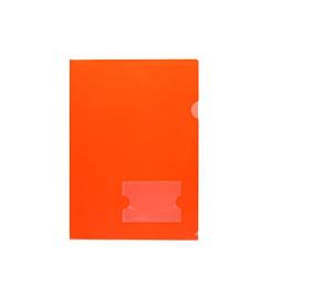 """Папка-уголок пластиковая """"Hatber"""", А4, 180мкм, с карманом для визитки, красная"""