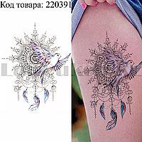 Временное тату Tattoo ласточка мандала 210х150 mm TH-265